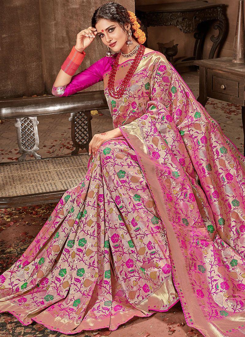 47d1634625dd2 Buy Hot Pink Weaving Work Designer Traditional Saree Online   83472 -