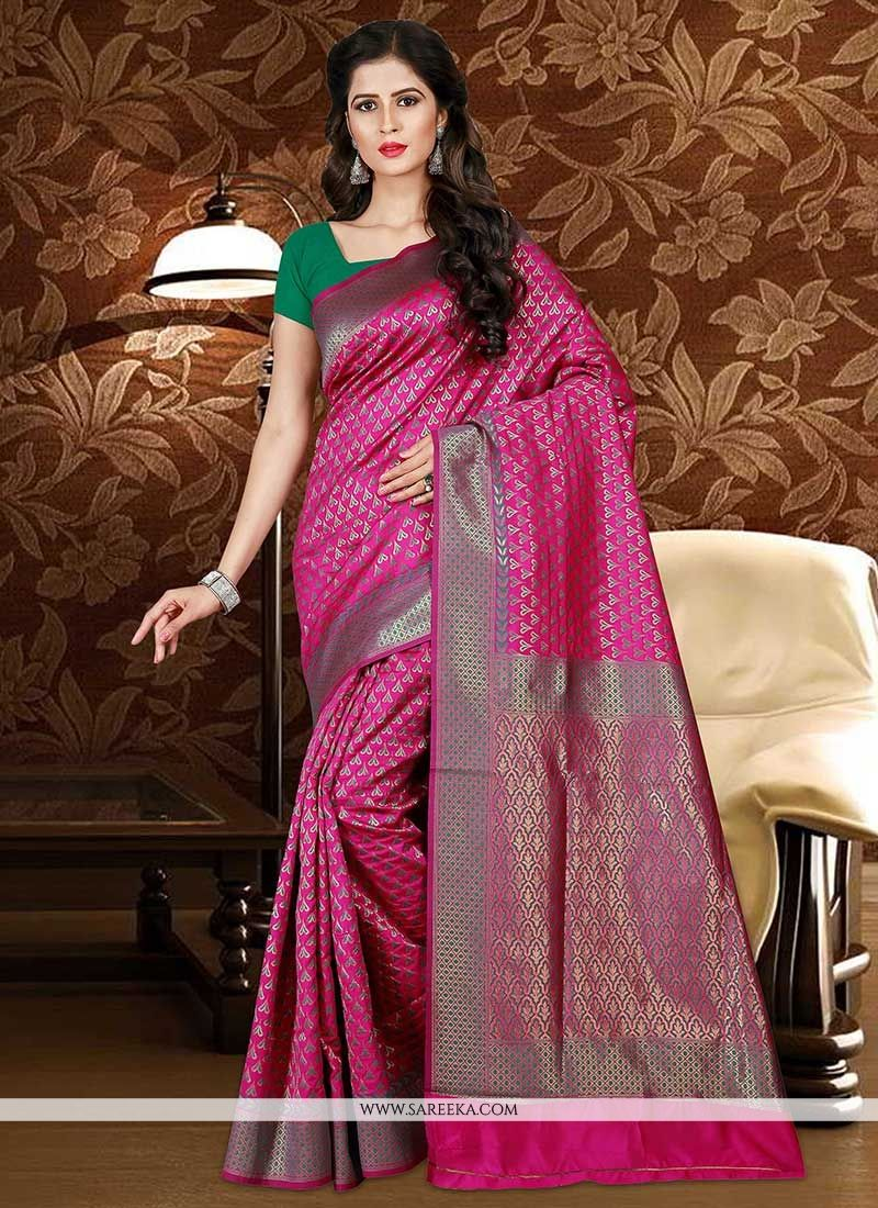 Hot Pink Weaving Work Traditional  Saree