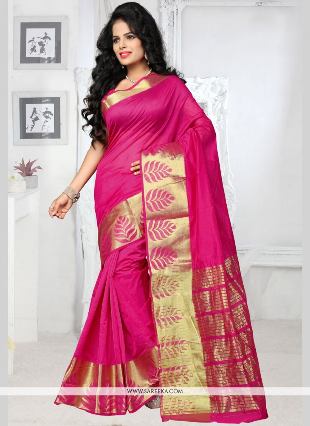 Hot Pink woven Work Art Silk Traditional  Saree
