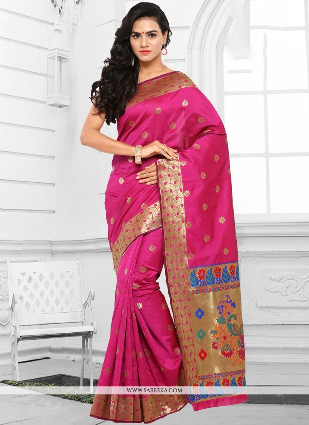 Hot Pink woven Work Traditional  Saree
