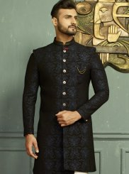 Indo Western Floral Patterns Jacquard in Blue
