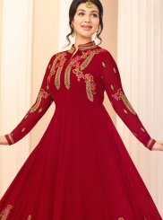 Inspiring Red Embroidered Anarkali Suit