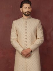 Jacquard Cream Embroidered Indo Western