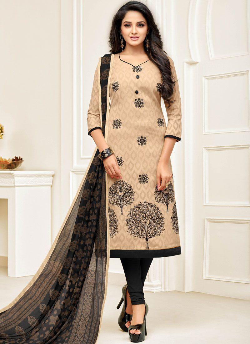 Jacquard Embroidered Beige Churidar Salwar Kameez