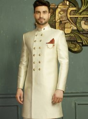 Jacquard Embroidered Off White Indo Western
