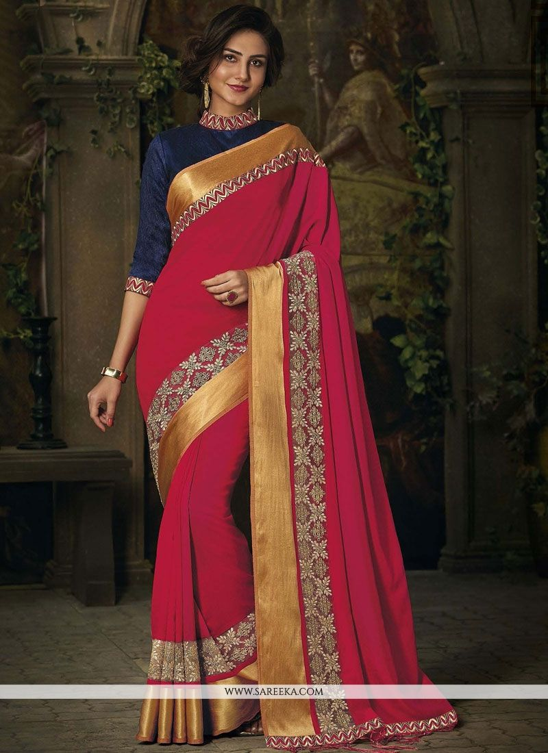 Jacquard Hot Pink Patch Border Work Traditional  Saree