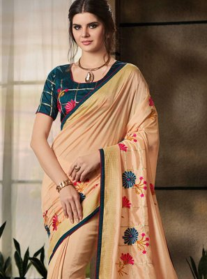 Jacquard Peach Embroidered Classic Saree