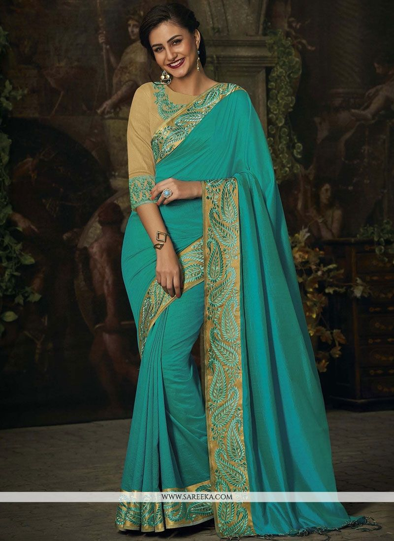 Jacquard Sea Green Classic Designer Saree