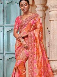 Jacquard Silk Embroidered Trendy Saree in Multi Colour
