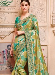 Jacquard Silk Green Border Trendy Saree