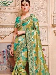 Jacquard Silk Green Border Trendy Saree