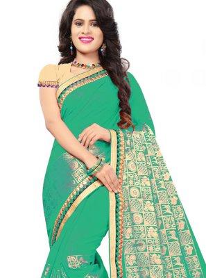Jacquard Silk Green Classic Saree