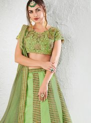 Jacquard Silk Green Lehenga Choli