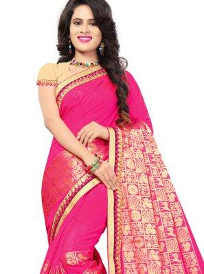 Jacquard Silk Hot Pink Classic Saree