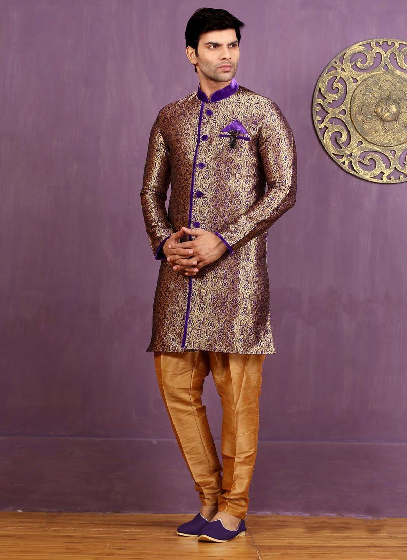 Jacquard Silk Indo Western Sherwani