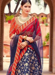 Jacquard Silk Navy Blue and Red Lehenga Choli