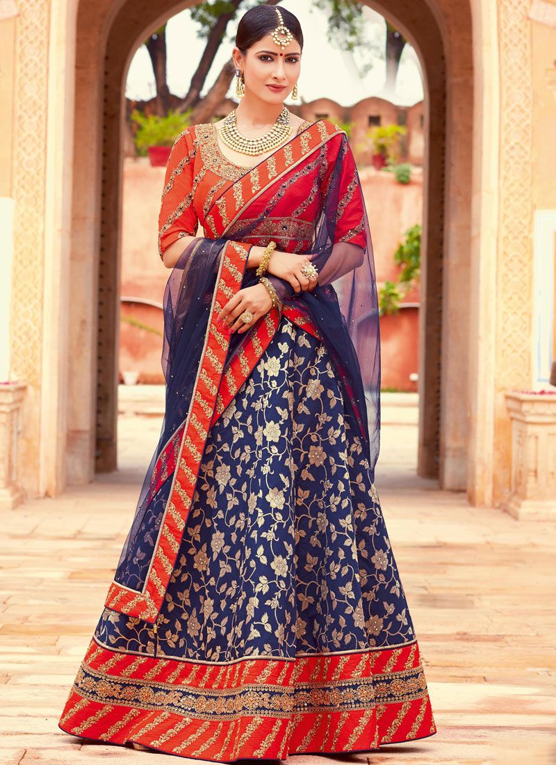 Jacquard Silk Navy Blue and Red Lehenga Choli