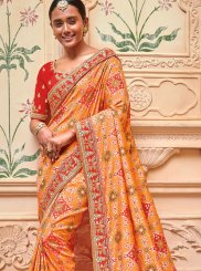 Jacquard Silk Orange Embroidered Designer Saree