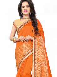 Jacquard Silk Orange Embroidered Traditional Designer Saree