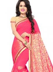 Jacquard Silk Pink Embroidered Classic Saree