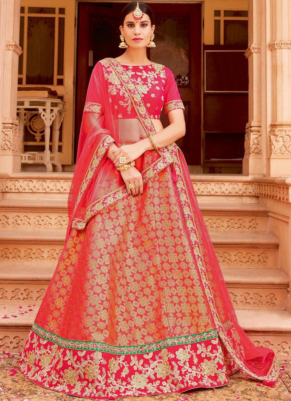 Jacquard Silk Pink Lace Lehenga Choli