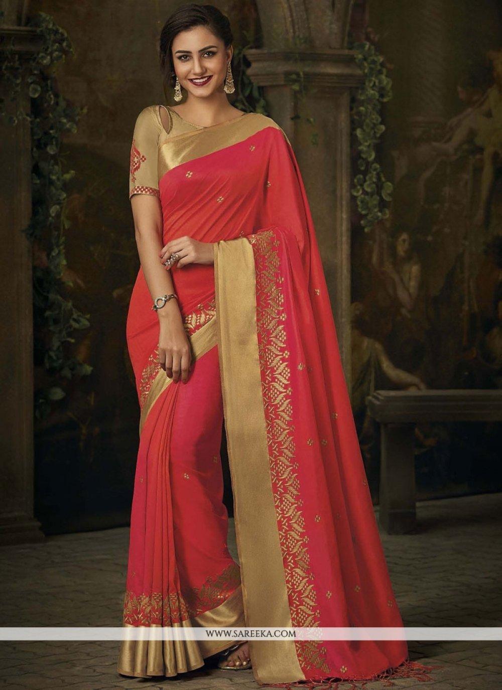Jacquard Silk Rose Pink Patch Border Work Designer Traditional Saree