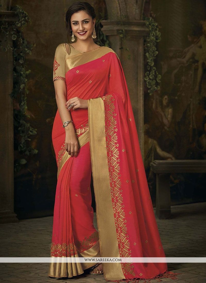 Jacquard Silk Rose Pink Patch Border Work Designer Traditional Saree