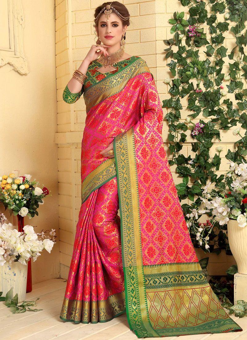 Jacquard Silk Rose Pink Weaving Designer Traditional Saree