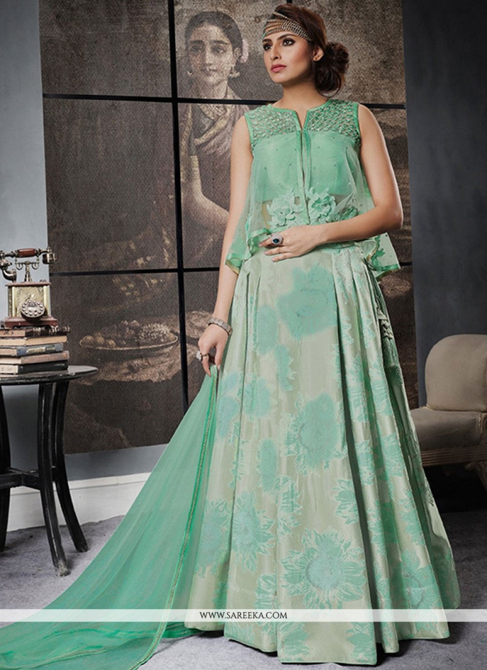 Jacquard Silk Sea Green Lehenga Choli