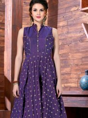 Jazzy Purple Art Silk Readymade Gown