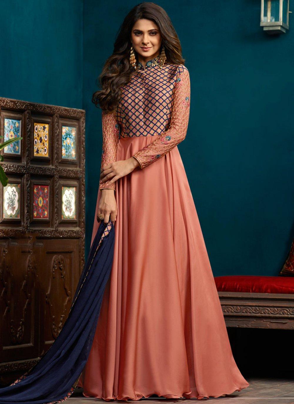 Jennifer Winget Embroidered Peach Readymade Anarkali Suit