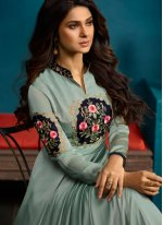 Jennifer Winget Faux Georgette Blue Resham Readymade Anarkali Suit