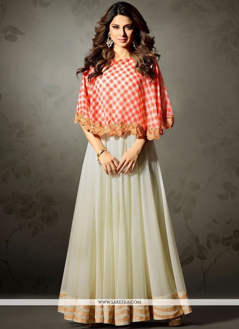 Jennifer Winget Lace Work Faux Georgette Floor Length Anarkali Suit