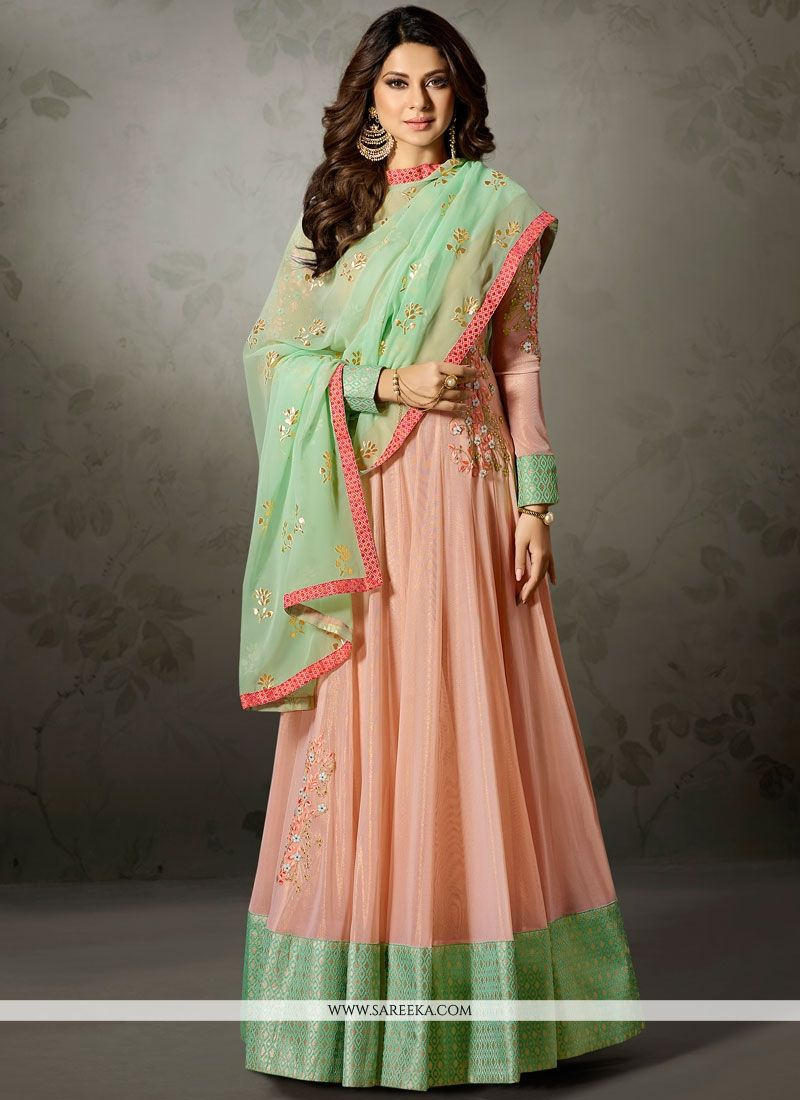 Jennifer Winget Lace Work Lycra Floor Length Anarkali Suit