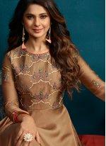 Jennifer Winget Praiseworthy Brown Readymade Anarkali Suit