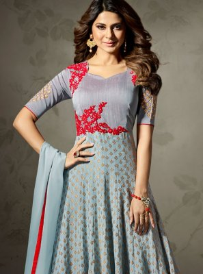 Jennifer Winget Resham Work Floor Length Anarkali Suit