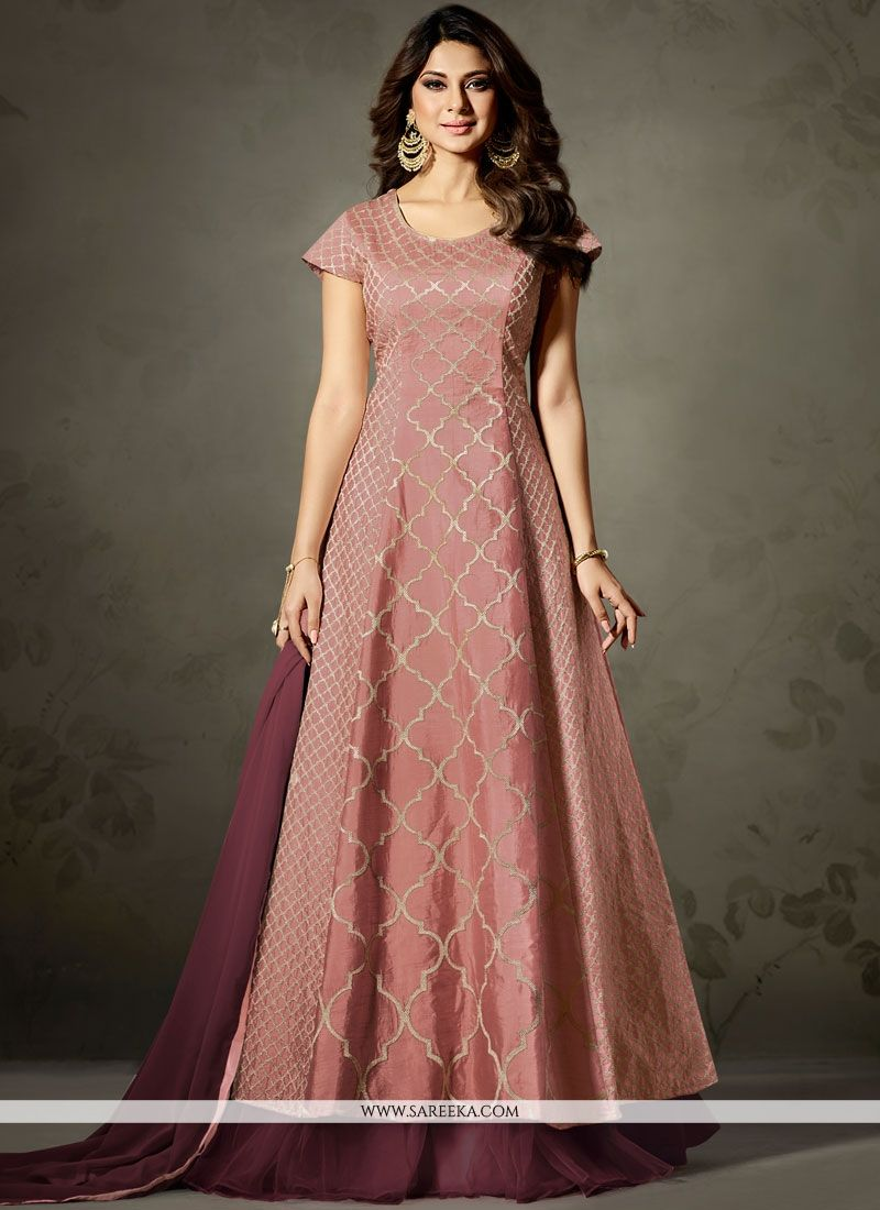 Jennifer Winget Wine Art Silk Floor Length Anarkali Suit