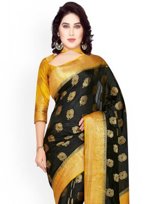 Kanchipuram silk Black and Gold Classic Designer Saree