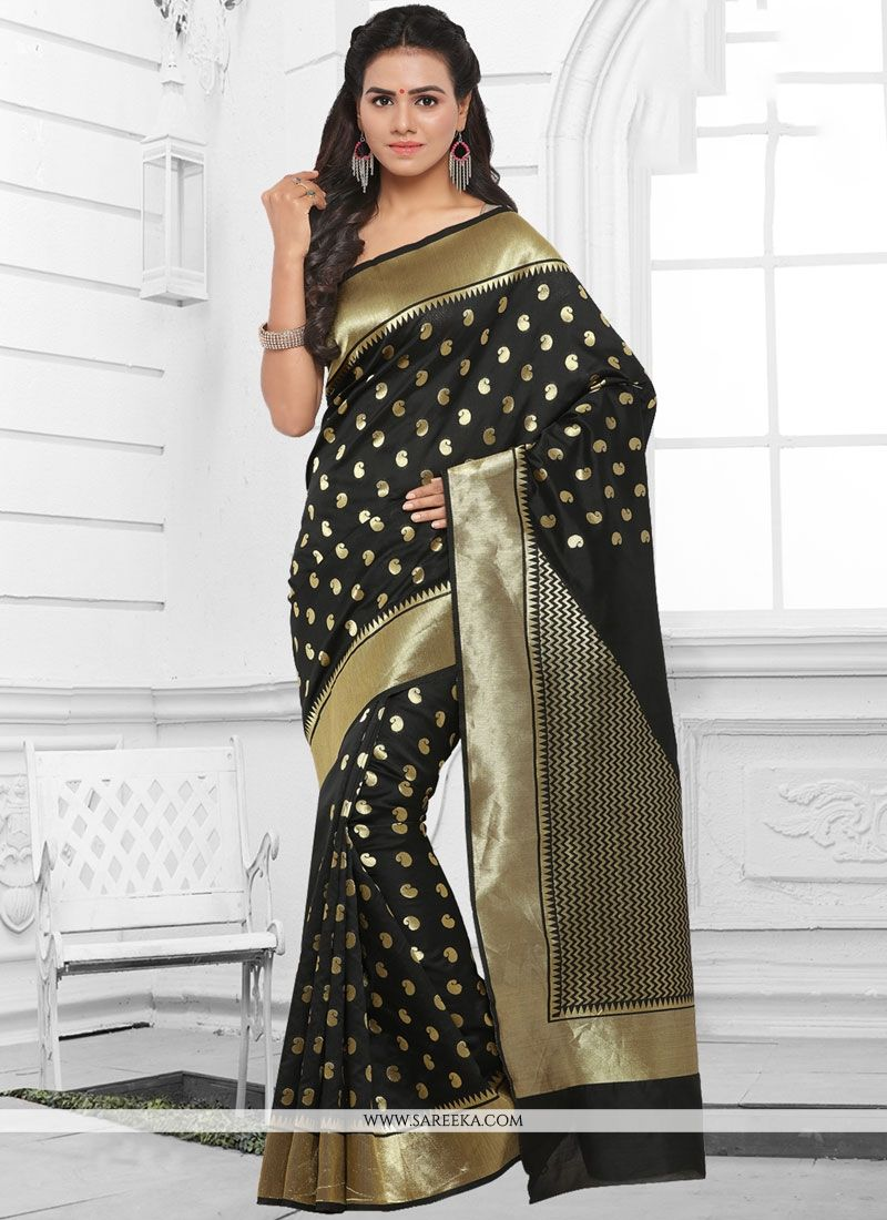 Kanchipuram silk Black Traditional  Saree