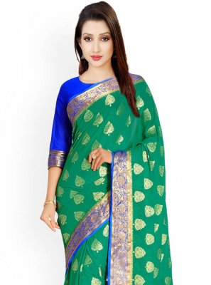 Kanchipuram silk Blue and Green Classic Designer Saree