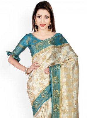 Kanchipuram silk Blue and Off White Classic Designer Saree