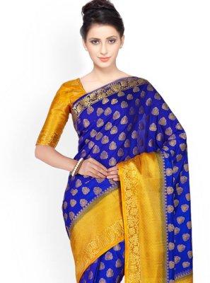 Kanchipuram silk Blue and Yellow Classic Designer Saree
