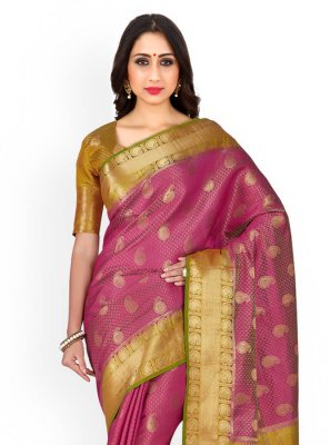 Kanchipuram silk Gold and Pink Weaving Work Designer Traditional Saree