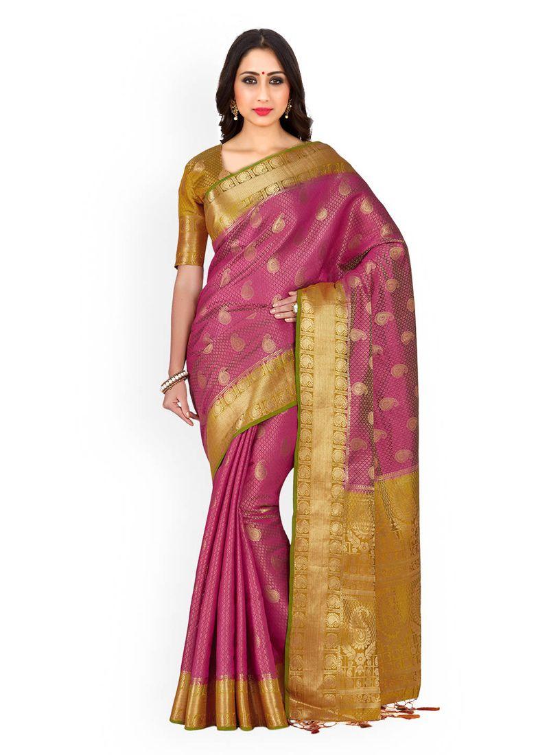 Kanchipuram silk Gold and Pink Weaving Work Designer Traditional Saree