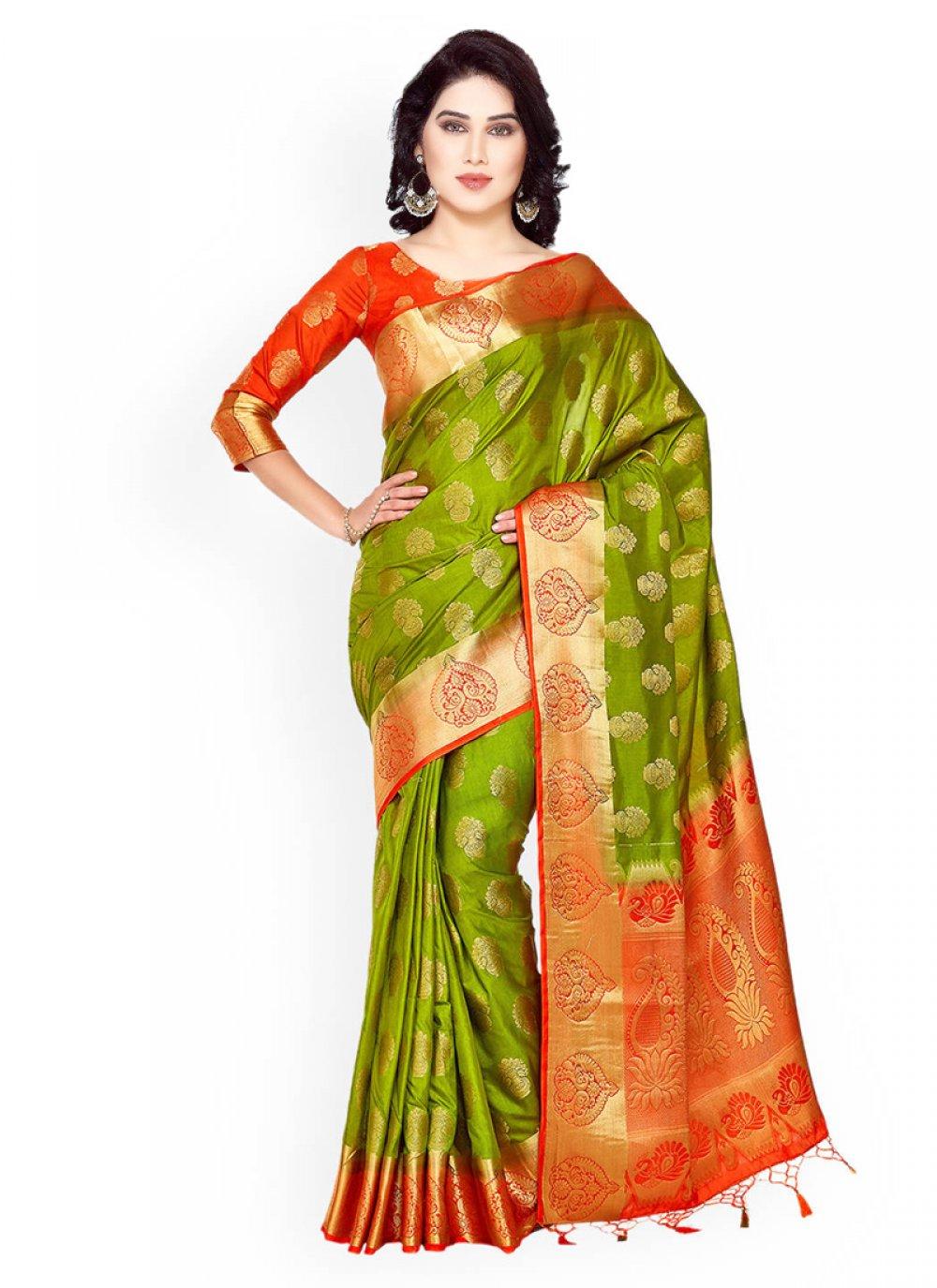 Kanchipuram silk Green and Rust Weaving Work Classic Designer Saree