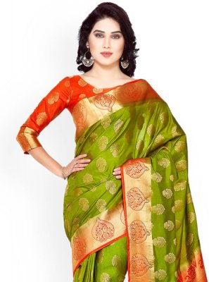 Kanchipuram silk Green and Rust Weaving Work Classic Designer Saree