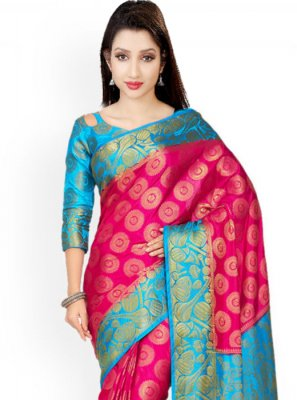Kanchipuram silk Pink and Turquoise Designer Saree