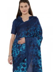 Khadi Blue Casual Saree