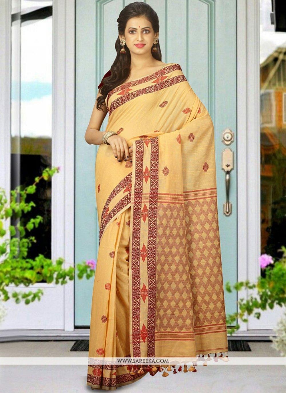 Khadi Cream Traditional Designer Saree
