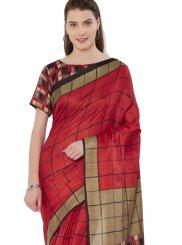 Khadi silk Red Print Casual Saree